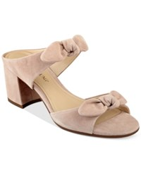 Ivanka Trump Eria Block Heel Slide Sandals Women's Shoes Light Natural