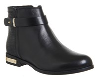 Office Lance Flat Strap Ankle Boots Black Leather