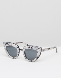 Asos Flat Top Cat Eye Sunglasses With Full Metal Sandwich Mono Black