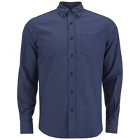 Tripl Stitched Men's Oxford Long Sleeve Shirt Navy