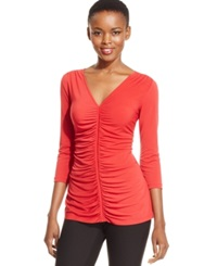 Eci Three Quarter Sleeve Ruched Top Scarlet