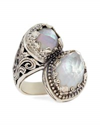Konstantino Aura Silver And Mother Of Pearl Bypass Ring Size 7
