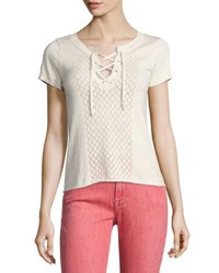 Frame Pointelle Lace Up Tee Off White White Pattern