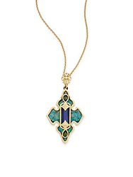 Armenta Old World Boulder Opal Mosaic Lapis White Sapphire Diamond Pear Green Tourmaline And 18K Yellow Gold Cross Pendant Gold Green