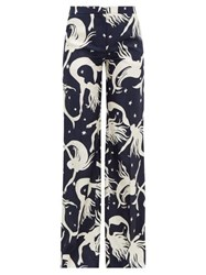 Valentino Mermaid Print Silk Twill Wide Leg Trousers Navy