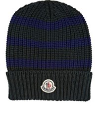 Moncler Men's Striped English Rib Knit Virgin Wool Beanie Green Blue Green Blue