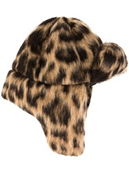 R 13 R13 Leopard Trapper Hat Brown