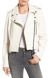 Derek Lam Women's 10 Crosby Leather Moto Jacket Soft White