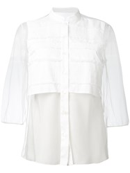 Red Valentino Sheer Panel Shirt Women Cotton Nylon Polyamide Spandex Elastane 40 White
