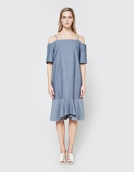Toit Volant Colette Dress In Chambray
