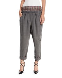 Brunello Cucinelli Straight Leg Wool Utility Pants With Attached Boxer Gray