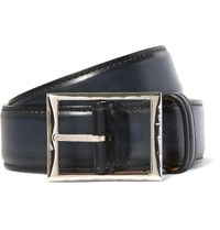 Berluti 3.5Cm Blue Classic Polished Leather Belt Blue