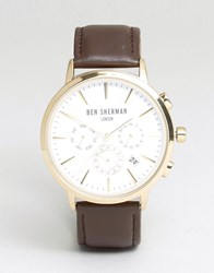 Ben Sherman Chronograph Leather Strap Watch Brown