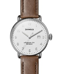 Shinola 43Mm Canfield 3Hd Leather Strap Watch Brown