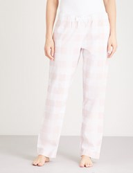 The White Company Gingham Flannel Pyjama Bottoms Pale Pink