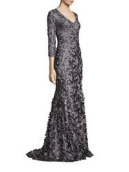 Theia Beaded Petal Applique Gown Graphite