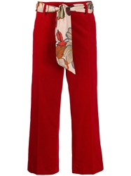 Cambio Scarf Belt Cropped Trousers Red