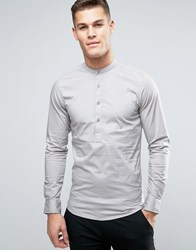 Only And Sons Skinny Half Placket Grandad Shirt Gray
