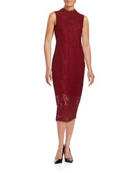 Shoshanna Lace Midi Dress Garnet
