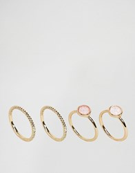 Asos Pack Of 4 Iridescent Rings Gold
