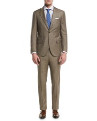 Isaia Solid Super 150S Wool Two Piece Suit Light Beige
