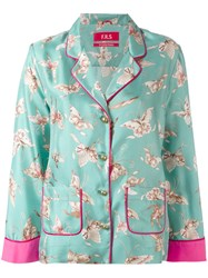 F.R.S For Restless Sleepers Butterfly Print Blouse Green