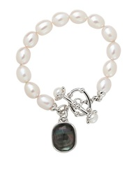 Honora Style Sterling Silver Freshwater Pearl And Black Mother Of Pearl Bracelet Pearl Grey Silver