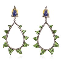 Meghna Jewels Tsavorite Blue Sapphire And Diamonds Claw Earrings