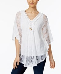 Style And Co Lace Up Fringe Poncho Only At Macy's Bright White