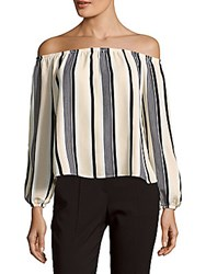 Lucca Couture Off The Shoulder Striped Top White