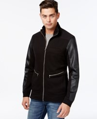 Inc International Concepts Full Zip Faux Leather Sleeves Jacket Only At Macy's Deep Black