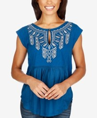Lucky Brand Embroidered Cap Sleeve Top Blue Opal
