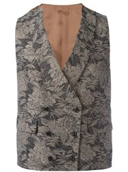 Gabriele Pasini Floral Embroidered Waistcoat Brown