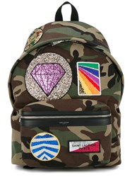 Saint Laurent Badge Embroidered Camo Backpack Green