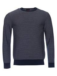 Barbour Reverse Stripe Crew Neck Jumper Navy