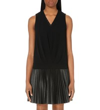 Karen Millen Draped Sleeveless Crepe Jersey Top Black