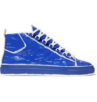 Balenciaga Arena Leather High Top Sneakers Cobalt Blue