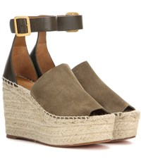 Chloe Suede Wedge And Leather Sandals Green