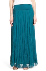 Petite Women's Matty M Crinkle Maxi Skirt Teal