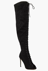 Boohoo Lace Up Peeptoe Over The Knee Boot Black