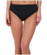 Badgley Mischka Solid High Waist Brief Black Women's Swimwear