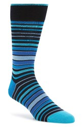 Bugatchi Men's Thick Stripe Crew Socks Navy Aqua