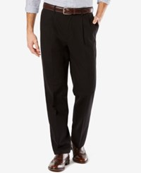 Dockers Men's Big And Tall Signature Classic Fit Khaki Pleated Stretch Pants Black