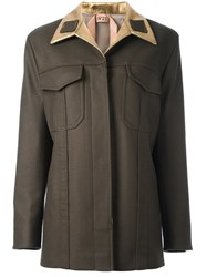 N 21 No21 Patch Pocket Military Coat Green