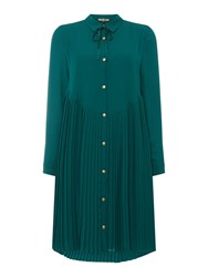 Biba Knifepleat Shirt Dress Green