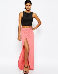 Asos Wrap Maxi Skirt In Jersey Coral
