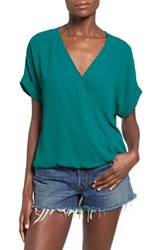 Women's Lush Surplice Neck Short Sleeve Top Shaded Spruce