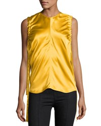 Helmut Lang Ruched Armhole Sateen Silk Tank Yellow