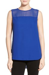 Women's Vince Camuto Chiffon Yoke Sleeveless Blouse
