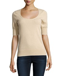 Todd And Duncan Cashmere Fine Gauge Scoop Neck Sweater Oatmeal